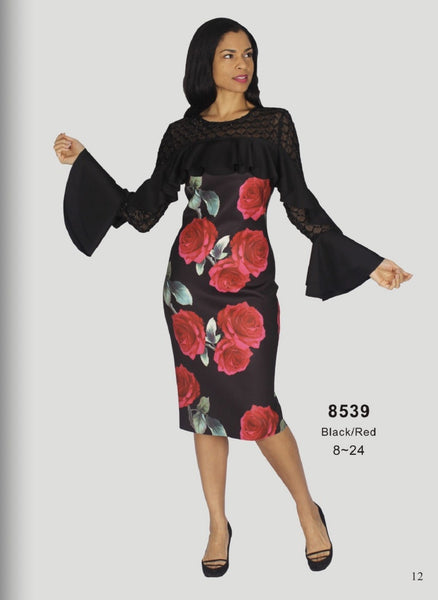 Diana Black with Red Floral Print Dress 8539 Spring 2020