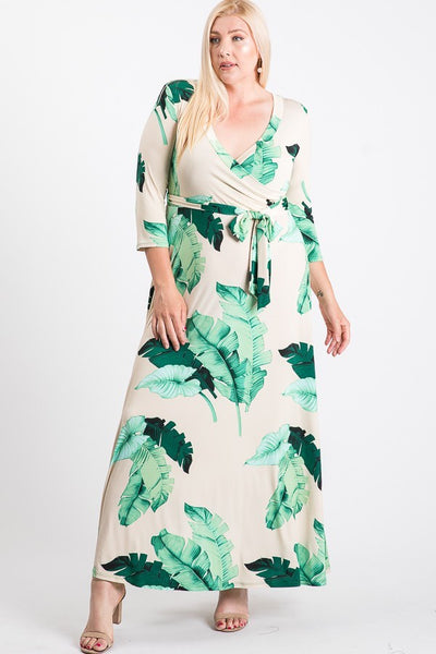 Janette Cream Olive Maxi Wrap Dress DJ51504-NOL-P Spring 2020