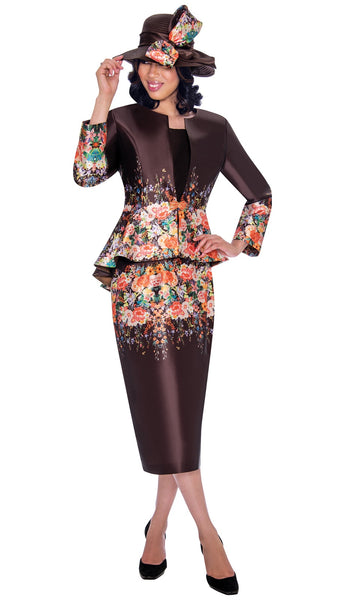 GMI Brown 3pc Floral Print Suit G7483 Markdown 2019