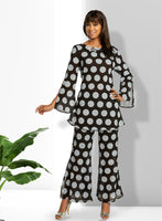 Lisa Rene Black and Silver 2pc Linen Tunic & Pant Set 3360 Spring 2020