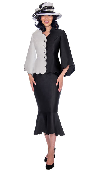 GMI Black & White 2pc Color Block Suit G7472 Fall 2019