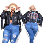 Game Queen Plus Size Fashion Faux Leather Jacket 20798 Fall 2020