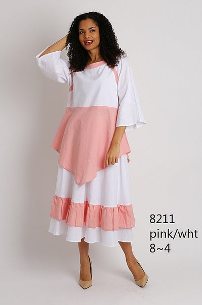 Ella Belle White and Pink Linen Set 8211 Markdown 2019