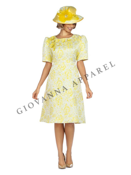 Giovanna Yellow 1pc Metallic Brocade Short Sleeve Dress with Petals D1524 Dress Spring 2020