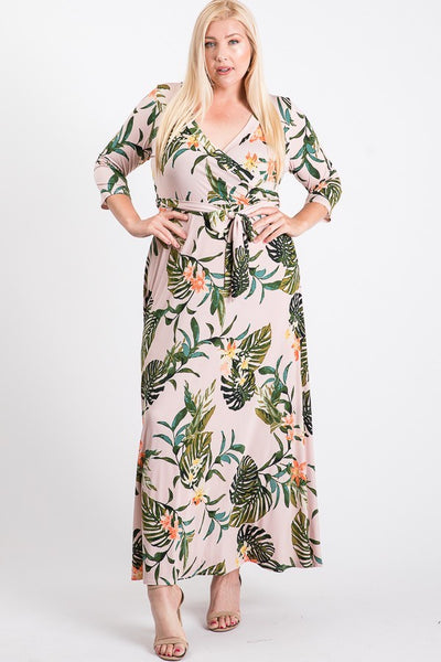 Janette Blush / Olive Maxi Wrap Dress DJ51504-BGT-P Spring 2020