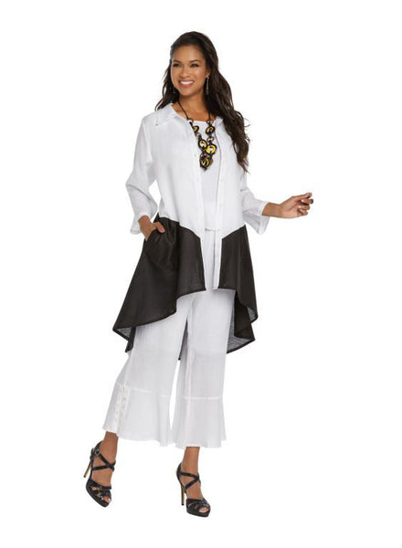 Lisa Rene White and Black Linen Jacket, Cami & Pant Set 3335 Markdown 2019