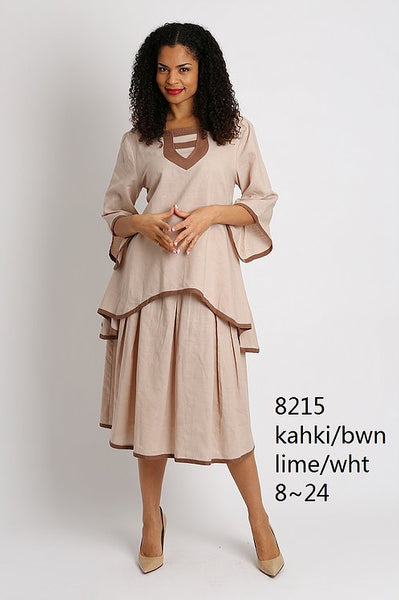 Ella Belle Khaki and Brown Linen Set 8215 Spring 2019