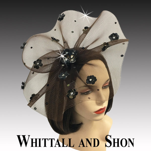 Whittall & Shon Brown Sequin Floral Paillette Fascinator Hat FA2433 ASTER Fall 2019