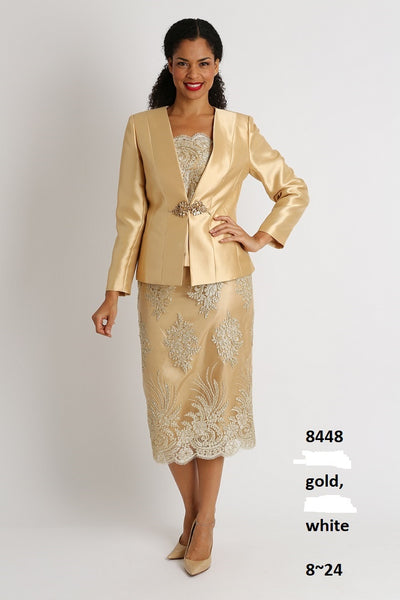 Diana Gold 3pc Silky Twill with Sequences 8448 Suit Holiday 2019