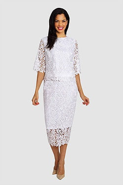 Diana White Lace 2pc Suit 8072 Markdown 2019