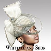Whittall & Shon White Headpiece with Crystal Rings Hat 2635 Orbit Spring 2020