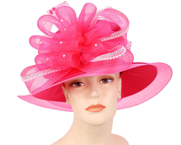 Ms Divine Hot Pink/White Fashion Hat 34-H908 Spring 2020