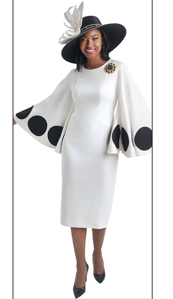 Lily & Taylor Ivory Black Polka Dot Dress 4467 Fall 2019