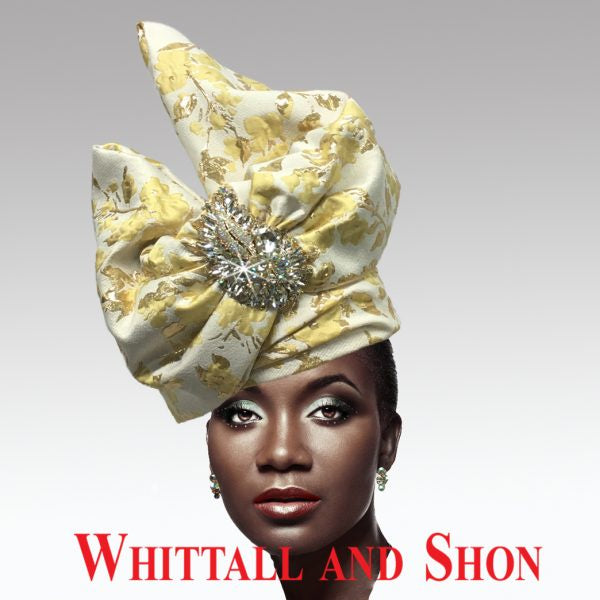 Whittall & Shon Yellow Exotic Draped Turban with Jewel Brooch Hat 2518 ABABA Spring 2020