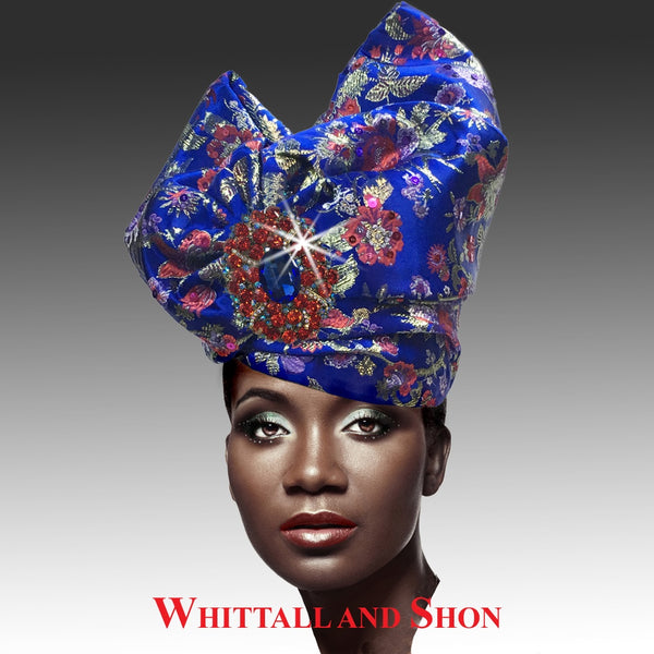 Whittall & Shon Royal Exotic Draped Turban with Jewel Brooch Hat 2518 ABABA Fall 2019