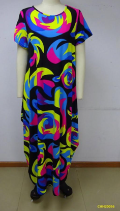 CHH-20056 Print 254 Missy Size Spandex Knitted Balloon Long Dress with Pockets Spring 2021