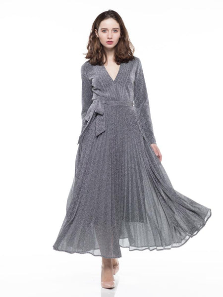 WHY Silver Metallic Fabric Pleated Detailing Long Sleeve Dress D180606 Holiday 2019