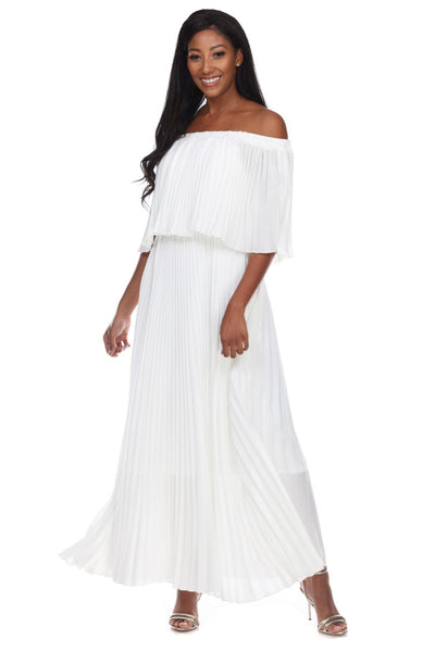 Capriana Couture White Pleated Maxi Dress RA-035 Spring 2020