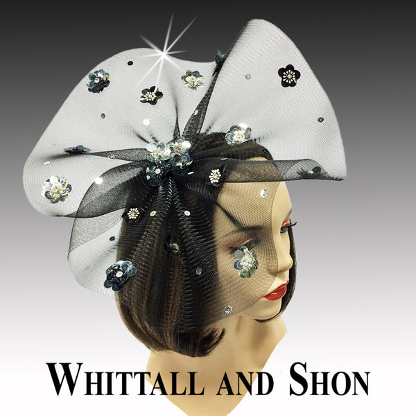 Whittall & Shon Black-Silver Sequin Floral Paillette Fascinator Hat FA2433 ASTER Fall 2019