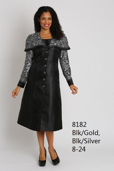 Diana Shawl Collar Dress Black and Silver 8182 Markdown 2019