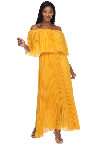 Capriana Couture Gold Pleated Maxi Dress RA-035 Spring 2020