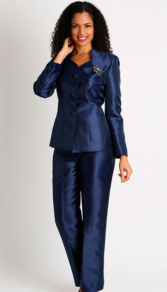 Diana Navy Silky Twill Pant Suit 8428 Markdown 2020