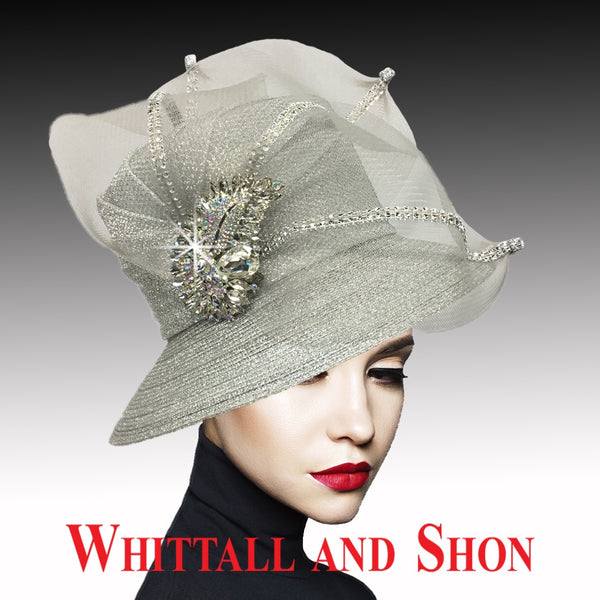 Whittall & Shon Silver Classic Mesh Bucket w Jewel Leaves Hat 2533 MURPHY Fall 2019