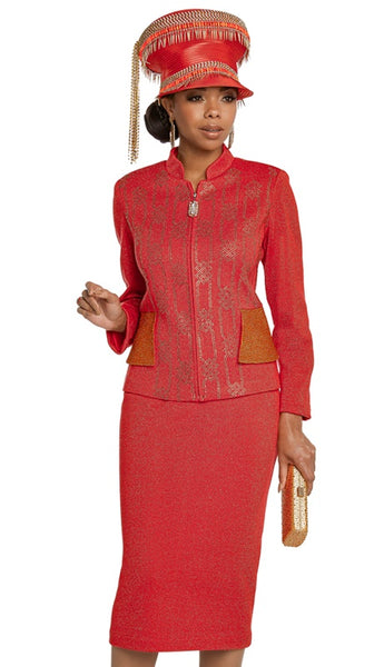 Donna Vinci Red Orange Knit Suit 13265 Fall 2020