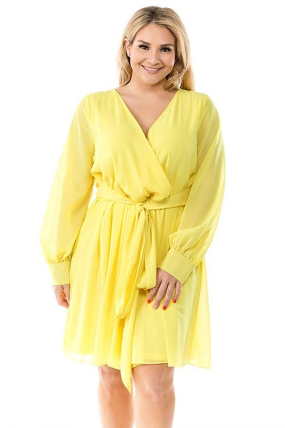 Ricarica Yellow  Midi Wrap Dress P9189SO Markdown 2019
