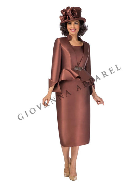 Giovanna Chocolate 3pc Silky Twill Suit G1085 Markdown 2019
