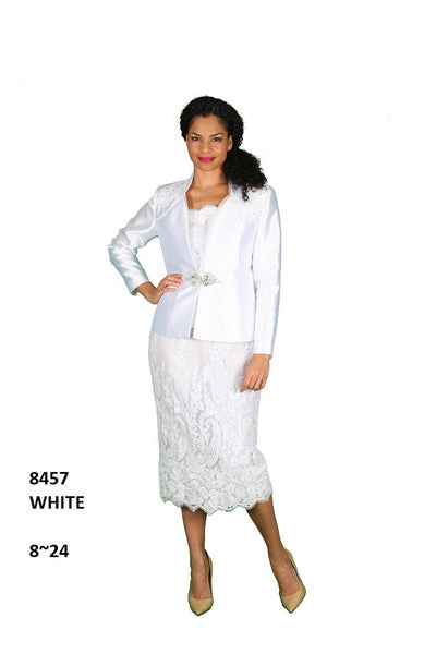 Diana White 3pc Skirt Suit 8457 Spring 2021