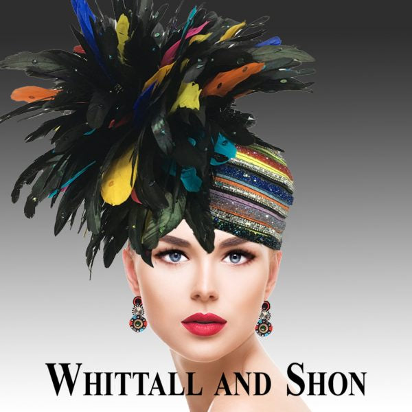 Whittall & Shon Multi Hued Feather Bubble Hat 2629 Toucan Spring 2020