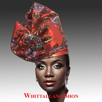 Whittall & Shon Red Exotic Draped Turban with Jewel Brooch Hat 2518 ABABA Fall 2019