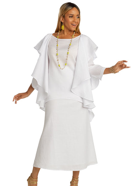 Lisa Rene White 2pc Linen Tunic & Skirt Set 3362 Spring 2020