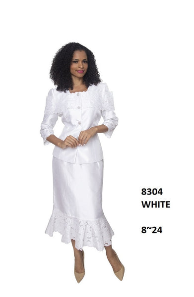 Diana White 2 Pc Shantung Skirt Suit 8304 Spring 2020
