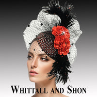 Whittall & Shon Red Jewel Encrusted Juliet Cap Headband Fascinator Hat FA2502 PISCES Fall 2019