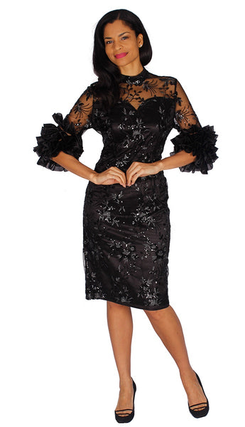 Diana Black Lace and Sequin with Ruffle Trim Dress D2016 Spring 2020