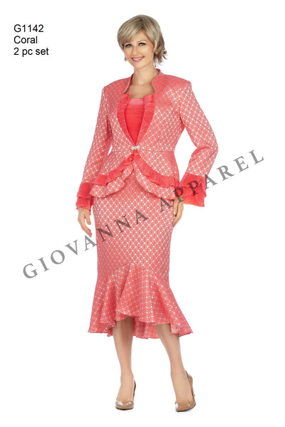 Giovanna Hot Pink / Coral 2pc Brocade and Crinkle Satin Skirt Suit G1142 Spring 2020