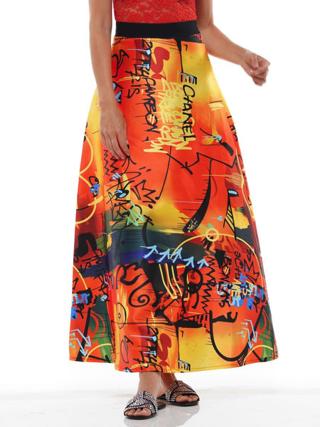 WHY Orange Multi Print Skirt S190485 Holiday 2019
