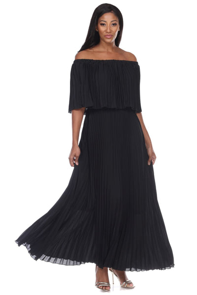 Capriana Couture Black Pleated Maxi Dress RA-035 Spring 2020