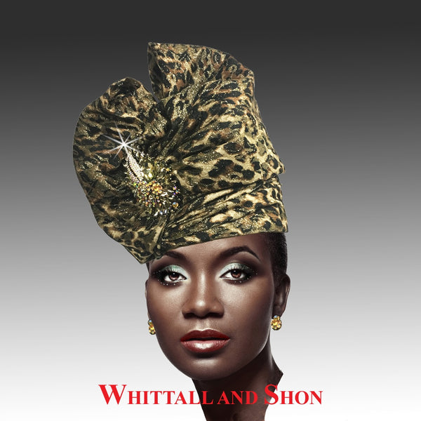 Whittall & Shon Leopard Exotic Draped Turban with Jewel Brooch Hat 2518 ABABA Spring 2020