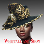 Whittall & Shon Black Leopard Animal Trimmed Medium Brim Hat 1813LE ST JOHN SAFARI Fall 2019