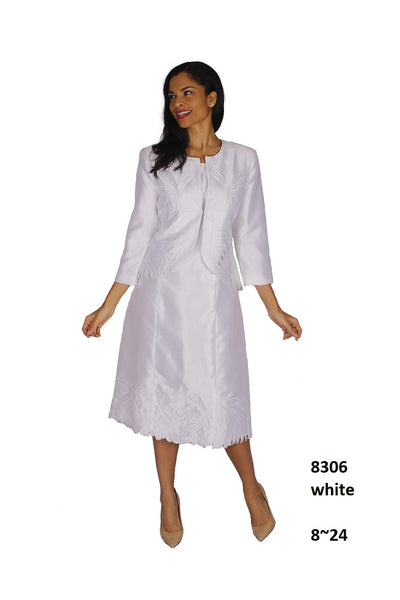Diana White 2pc Jacket Dress 8306 Fall 2020