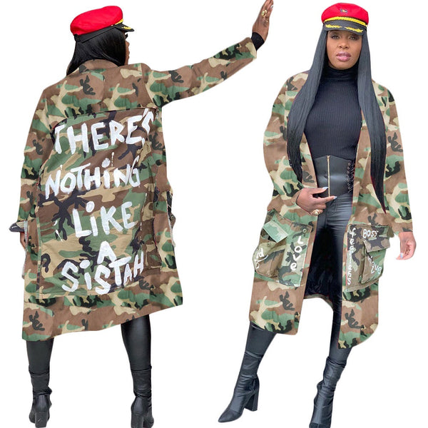 Camouflage Long Plus Size Coat 91129-MX8 Fall 2020
