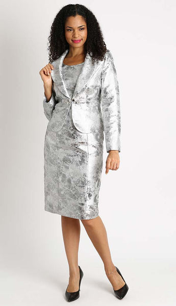Diana Silver Jacquard Fabric Jacket Dress 8440 Markdown 2019