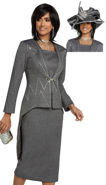 Donna Vinci Grey Knit Suit 13272 Fall 2020