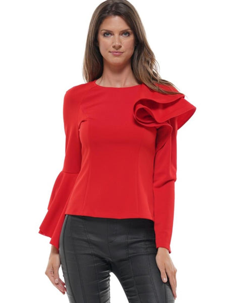 WHY Red Asymmetrical Ruffle Top T190795