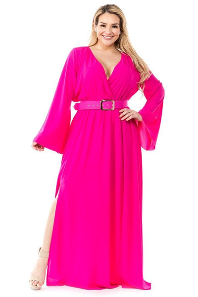 Ricarica Magenta Maxi Belted Dress P1560 Markdown 2019
