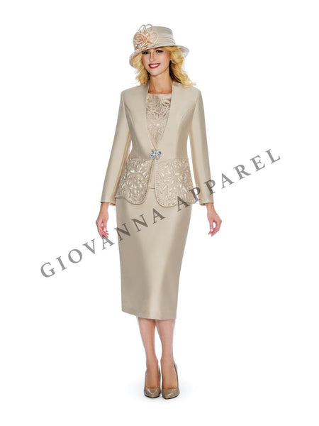 Giovanna Champagne 3pc Collarless Cutout & Beading Skirt Suit G1088 Markdown 2020