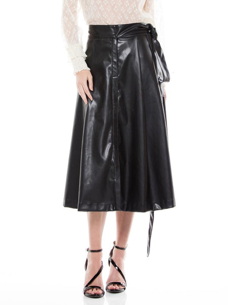 WHY Black Faux Leather Midi Belt Skirt S180166 Holiday 2019